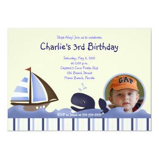 Ahoy Mate Blue Whale Birthday 5x7 Photo Announcements