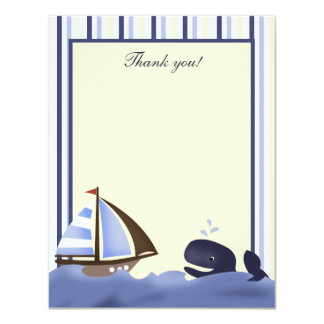 Ahoy Mate Blue Whale Flat Thank you card