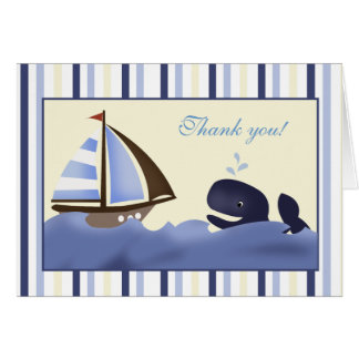 Ahoy Mate Blue Whale Folded Thank you note Stationery Note Card