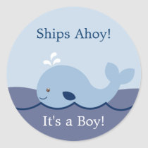 Ahoy Mate Cute Whale Envelope Seals Stickers