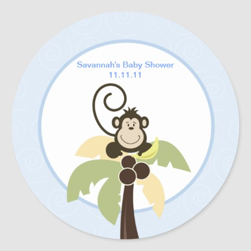 Ahoy Mate Monkey Favor Stickers 3-inch
