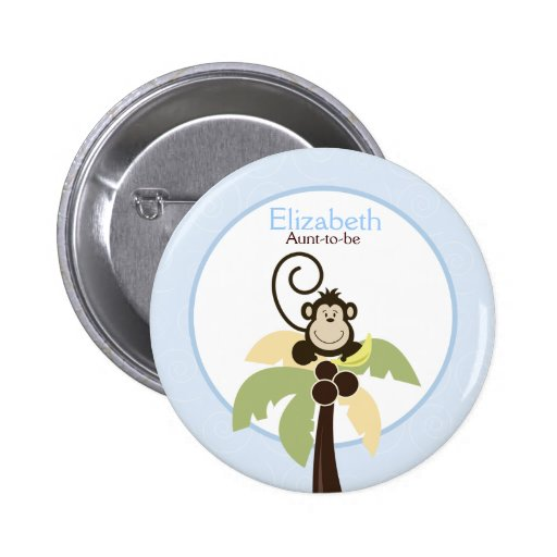 Ahoy Mate Monkey Palm Tree NAME TAG Custom Button