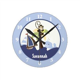 Ahoy Mate Monkey Whale Wall Clock Add a Name