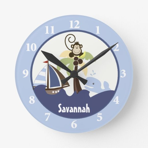 Ahoy Mate Monkey Whale Wall Clock Add a Name