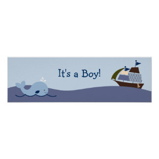 Ahoy Mate Nautical Baby Shower Banner Sign Poster
