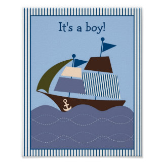 Ahoy Mate Nautical Birthday or Baby Shower Sign Poster