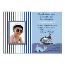 Ahoy Mate Nautical Photo Birthday Invitation