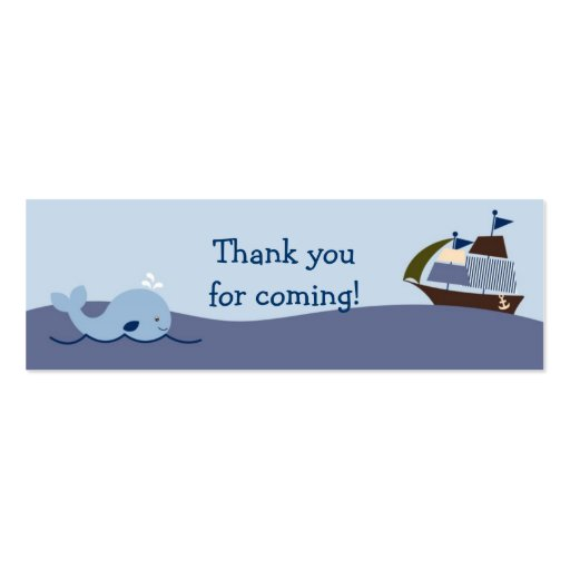 Ahoy Mate Nautical Whale Sailboat Favor Gift Tags Double-Sided Mini Business Cards (Pack Of 20)