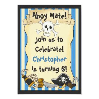 "Ahoy Mate! Pirate Birthday Invitation for Boys 5"" X 7"" Invitation Card"