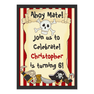 Ahoy Mate! Pirate Boys Birthday Party 5x7 Paper Invitation Card