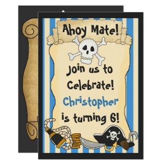 Ahoy Mate! Pirate Skull n Crossbones Blue Birthday Invitation