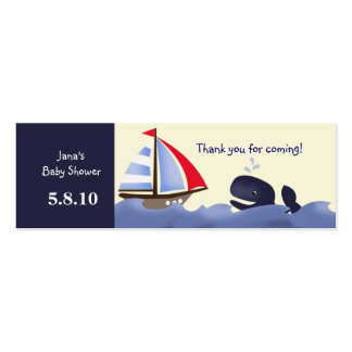 Ahoy Mate Red Sail Favor Tag Mini Business Card