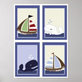 AHOY MATE Sail boat Boys Nursery Room Prints Poster
