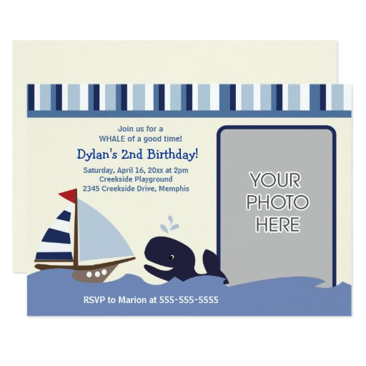 Ahoy Mate Sailboat Navy Whale Birthday Photo Card
