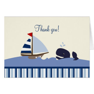 Ahoy Mate Whale (Blue) Thank you Notes Stationery Note Card