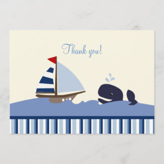 Ahoy Mate Whale Flat Thank you note - Blue Stripe