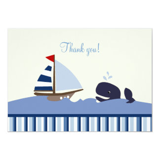 Ahoy Mate Whale Flat Thank you note - Blue Stripe Card