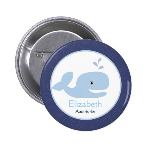Ahoy Mate Whale NAME TAG Custom Button