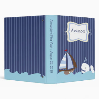Ahoy Mate Whale Nautical Sailboat Customized 3 Ring Binder