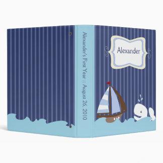 Ahoy Mate Whale Nautical Sailboat Customized Vinyl Binder