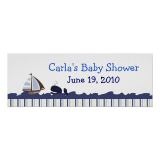 Ahoy Mate Whale Personalized Baby Shower Banner Poster
