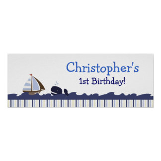 Ahoy Mate Whale Personalized Birthday Banner Poster