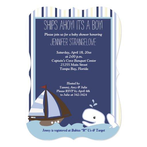 Ahoy Mate Whale Sailboat Baby Shower die cut Card