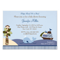 """Ahoy Mate Whale Sailboat Baby Shower Invitations 5"""" X 7"""" Invitation Card"""