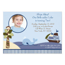 Ahoy Mate Whale Sailboat Birthday Invitations