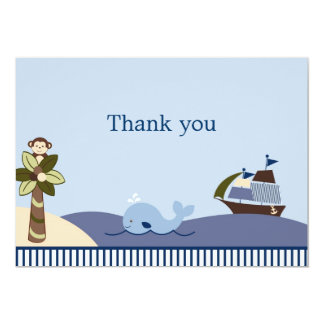 Ahoy Mate Whale Sailboat Flat Thank You Note Cards