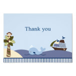 Ahoy Mate Whale Sailboat Flat Thank You Note Cards Personalized Announcements