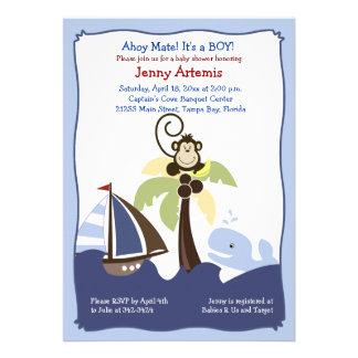 Ahoy Mate Whale Sailboat Monkey Invitation 5x7