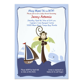 Ahoy Mate Whale, Sailboat & Monkey Invitation 5x7