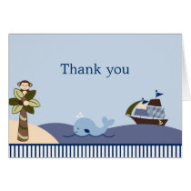 Ahoy Mate Whale Sailboat Thank You Note Cards