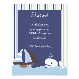 Ahoy Mate White Whale 4x5 Flat Thank you note Card