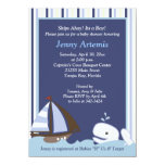 """Ahoy Mate White Whale 4x6 Baby Shower Invite 4.5"""" X 6.25"""" Invitation Card"""