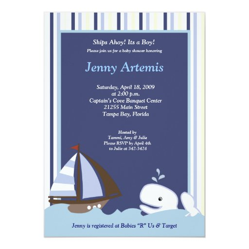 Ahoy Mate White Whale 5x7 Baby Shower Invitation