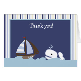 AHOY MATE White Whale Folded Thank you note Stationery Note Card