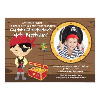 """Ahoy Mates Photo Pirate Birthday Party Invitations 5"""" X 7"""" Invitation Card"""