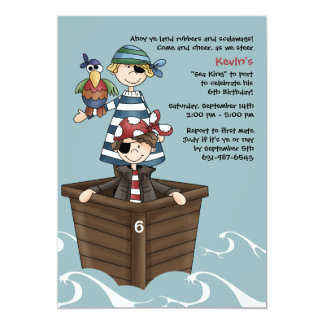 Ahoy Mates Pirate Birthday Party Invitation