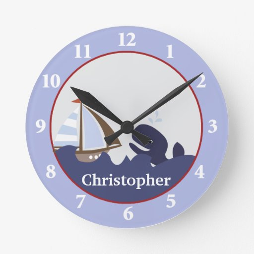 Ahoy MateWhale and Sailboat Wall Clock
