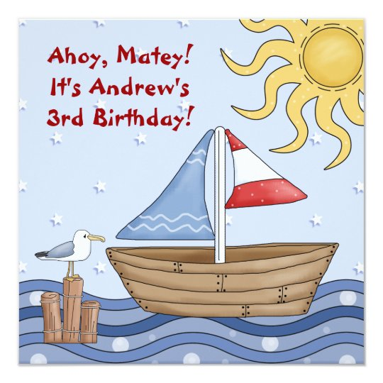 Ahoy Matey Birthday Sailing Invitation