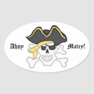 Ahoy Matey!-Cute Pirate Skull Oval Sticker