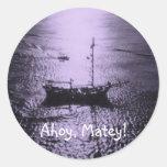 Ahoy Matey envelope seals purple Stickers