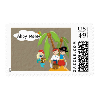 Ahoy Matey Girl Pirate Postage Stamp
