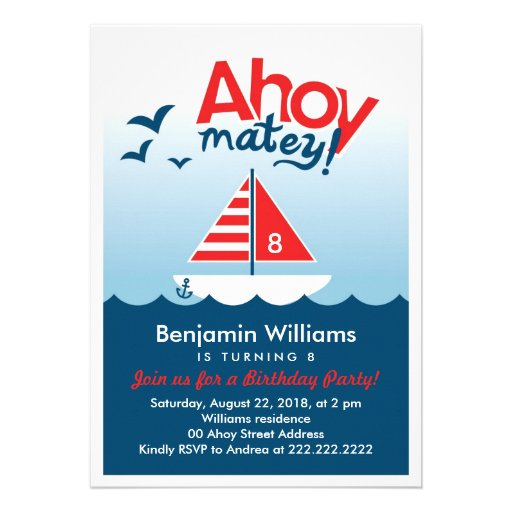 Personalized Nautical party Invitations CustomInvitations4Ucom