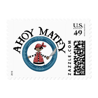 Ahoy Matey Patcheye Pirate Postage Stamps Postage Stamps