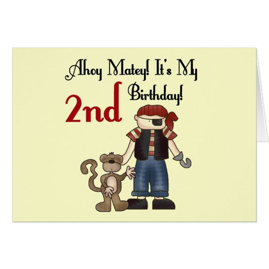 Ahoy Matey Pirate 2nd Birthday tshirts and Gifts Card
