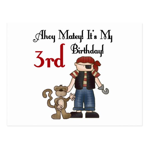 Ahoy Matey Pirate 3rd Birthday Tshirts and Gifts Postcard
