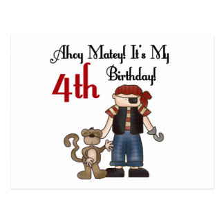 Ahoy Matey Pirate 4th Birthday Tshirts and Gifts Postcard